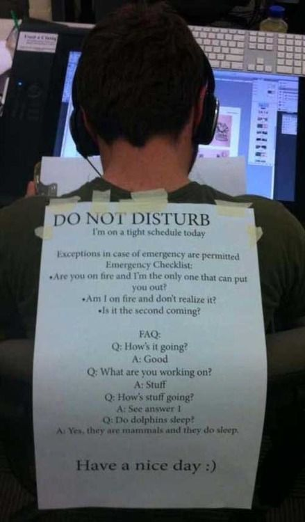 A student in the Ringling College of Art and Design computer lab. Do not disturb! #funny