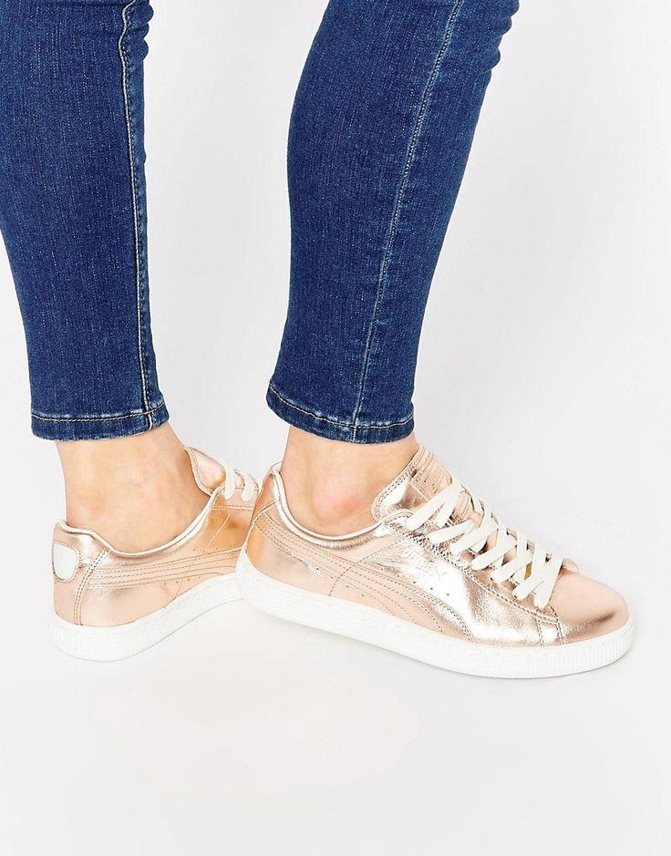Puma Basket Sneakers In Rose Gold Metallic
