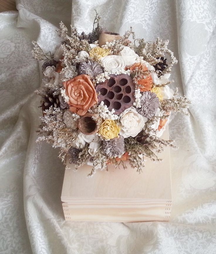 Ivory brown orange yellow rustic autumn fall wedding BOUQUET