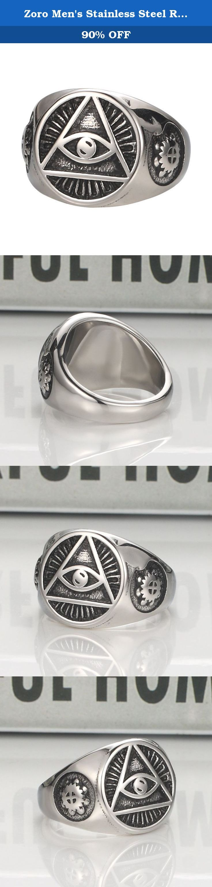 Zoro Men's Stainless Steel Ring Illuminati The All-seeing-eye pyramid/eye symbol Band Silver Black (12). Material: High Quality Titanium Steel,Well Polished Finish. Color: Silver Black. Availabe in Different Sizes, Perfect Gifts for Your Friends,and Familry. A handsome and masculine stainless steel ring. Dimensions:16-16mm.