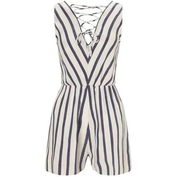 Miss Selfridge Petites Stripe Playsuit (43 JOD) ❤ liked on Polyvore featuring jumpsuits, rompers, ivory, petite, cotton romper, cotton rompers, miss selfridge, striped romper and stripe romper