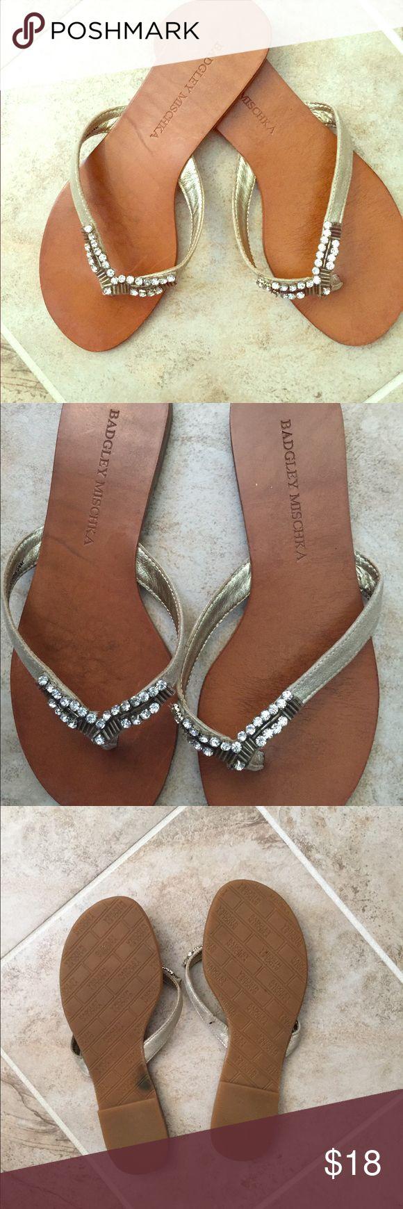 Selling this Badgley Mischka leather dressy flip flops on Poshmark! My username is: delightboutique. #shopmycloset #poshmark #fashion #shopping #style #forsale #Badgley Mischka #Shoes