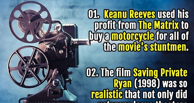 01. Keanu Reeves used his profit from The Matrix to buy a motorcycle for all of the movie's stuntmen. 02. In the entire Lord of the Rings film trilogy, no..