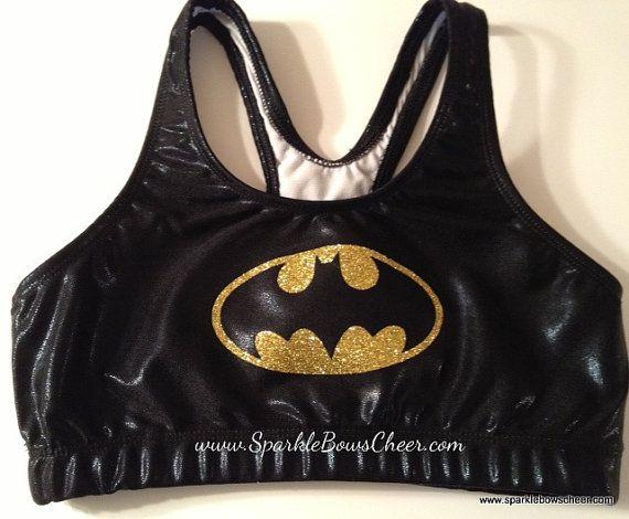 "Batman sports bra (Although it does say ""cheerleading"" in it's description.... *shudder*)"