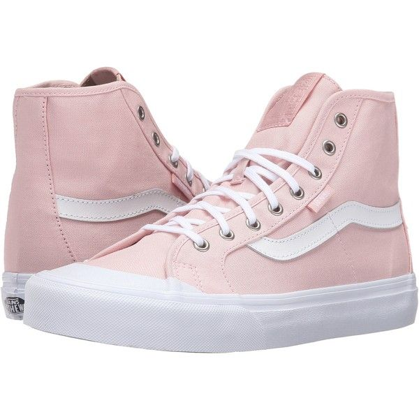 Vans Black Ball Hi SF (Dusty Rose/True White) Women's Lace up casual... ($50) ❤ liked on Polyvore featuring shoes, sneakers, pink, black hi top sneakers, white leather shoes, vans high tops, black sneakers and high top sneakers
