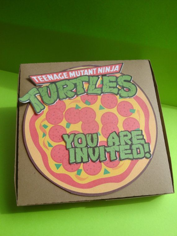 Teenage Mutan Ninja Turtles popup invitations  set by HappyToons, $24.00