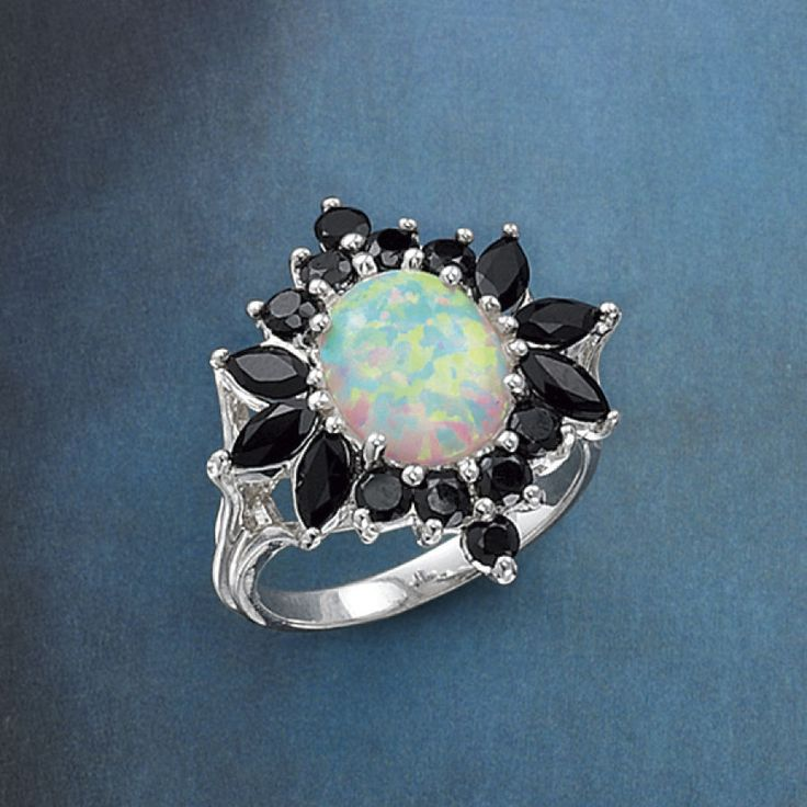Opal and Onyx Ring - New Age, Spiritual Gifts, Yoga, Wicca, Gothic, Reiki, Celtic, Crystal, Tarot at Pyramid Collection