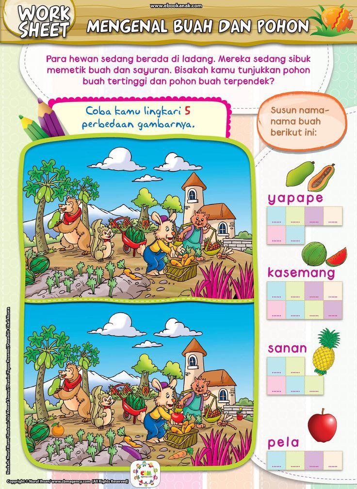 MENGENAL BUAH DAN POHONNYAPara hewan sedang berada di ladang. Mereka sedang sibuk memetik buah dan sayuran. Bisakah kamu tunjukkan pohon buah tertinggi dan pohon buah terpendek? Ayo, susun nama-nama buah berikut ini. Lalu coba kamu lingkari 5 perbedaan gambarnya. Download Gratis: Lihat petunjuk downloadSeri: Mencari Perbedaan GambarJudul: Mengenal Buah dan PohonnyaKategori: WorksheetsUkuran: 19 cm x …