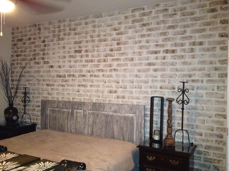 Distressed sponge painted brick wall home pinterest for How to sponge paint a wall without glaze