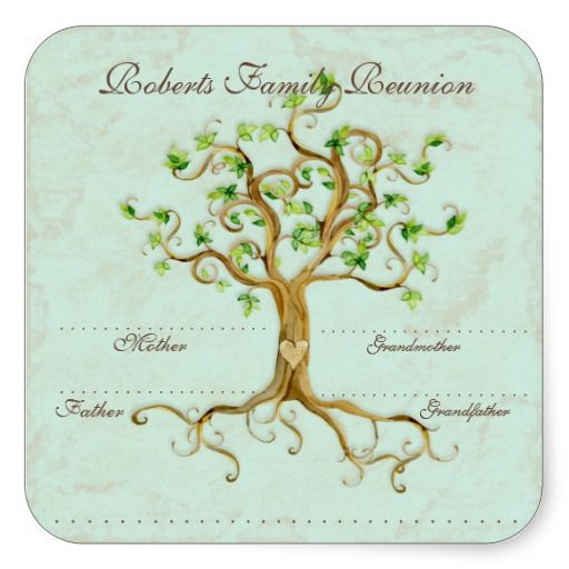 Swirl Tree Roots Antiqued Family Reunion Name Tags Sticker