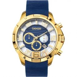 BREEZE Tropical Affair Chrono Gold Blue Rubber Strap