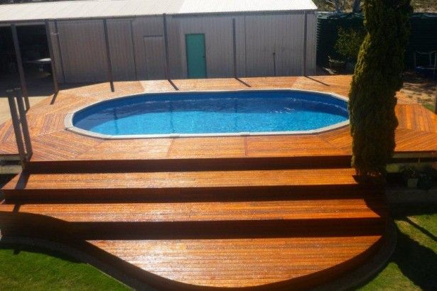Swimming Pool, Wooden Deck With Steps Of Backyard Oval Above Ground Pool: Above Ground Pool Prices: Get Estimation The Pool Prices