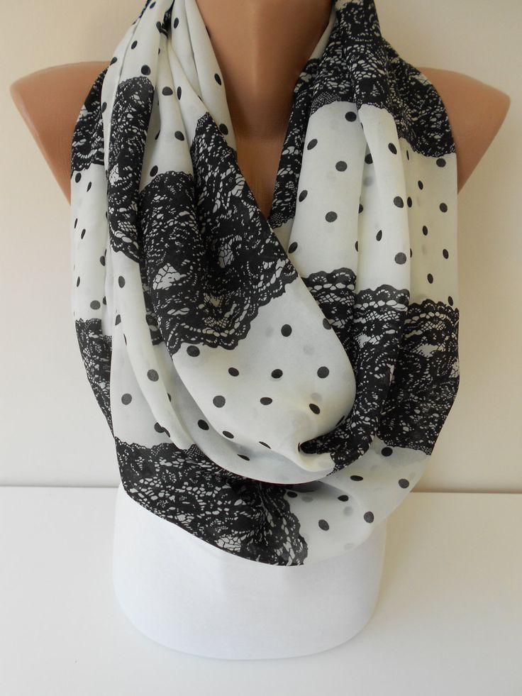 Infinity Scarf Polka Dots Scarf Black Lace Print Scarf Spring Summer Fashion…