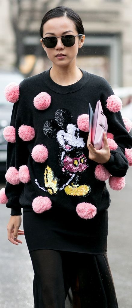Pom poms and Mickey Mouse // MFW street style #TheSartorialBlonde