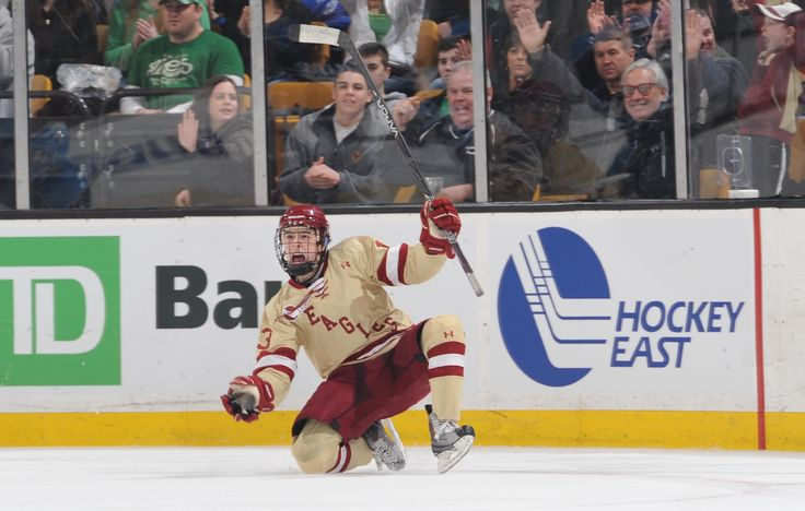 Johnny Gaudreau celebrates a goal. You can order a T-shirt of this image from BC Interruption.
