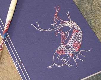 Japanese Crane Journal. Embroidered Notebook. by FabulousCatPapers