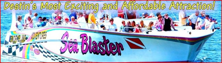 Climb aboard Destin's ORIGINAL Sea Blaster for a fun and exciting cruise with Capt. Larry, searching the Emerald Green waters of the Gulf of Mexico along the sugar white sand beaches of Destin, Florida, for the most playful dolphins.  The Sea Blaster offers snorkeling and dolphin cruises, beach and dolphin cruises, and relaxing sunset dolphin cruises.
