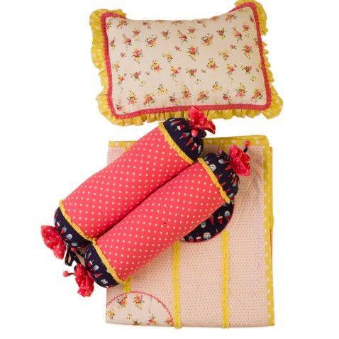 Baby Jalebi Baby Girl Bedding - Polka Dreams Blanket Pillow & Bolster Set