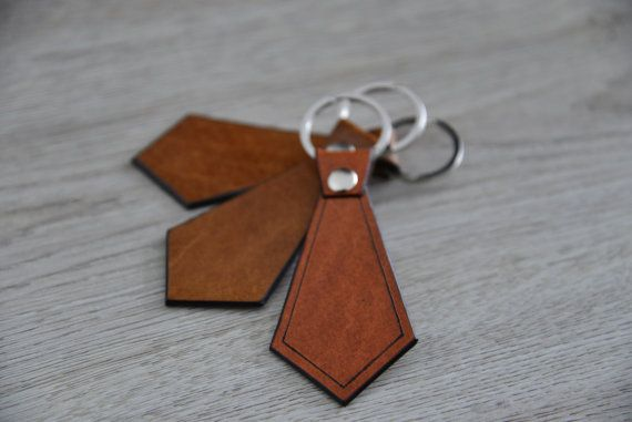 SALE 40% OFF Necktie leather key chain/ for men by NHLdesign