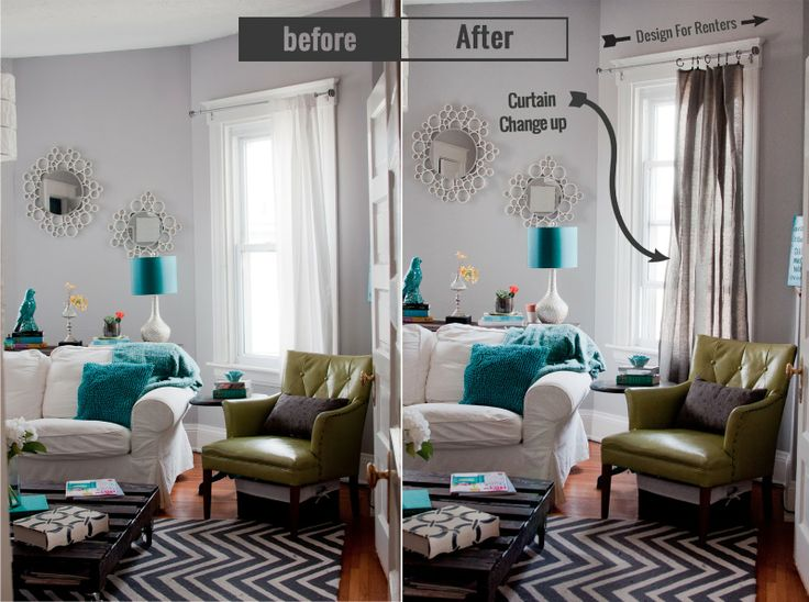 Quick and Easy Curtain Change Up!! use a tablecloth and turn it into a curtain panel!   HGTV #livingroom #curtain #diy #design #designforrenters #tabl…