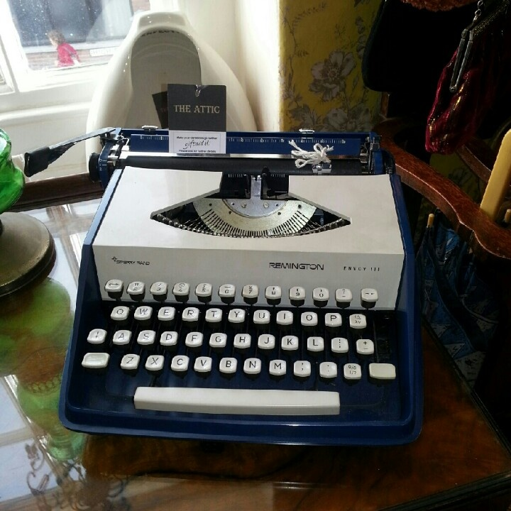 Navy vintage typewriter for sale in a Lincoln charity shop £15 ♥