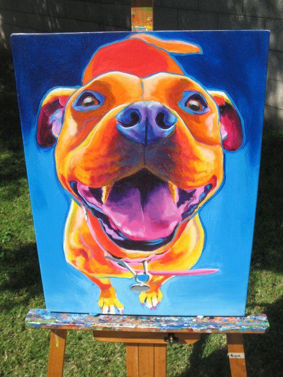 Pit Bull Pet Portrait DawgArt Dog Art Pit Bull Art