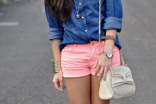 pink shorts denim shirt. yes.