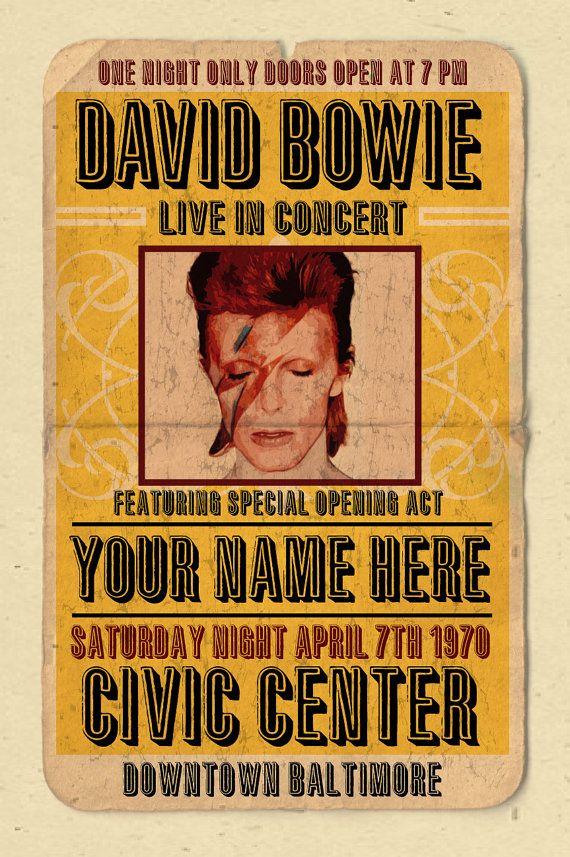 """Seu nome em um poster do concerto de 12 """"x18"""" poster pesado digital de David Bowie - você é o ato de abertura"""