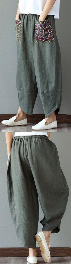 US$ 28.23 Casual Print Patchwork Loose Irregular Pants For Women