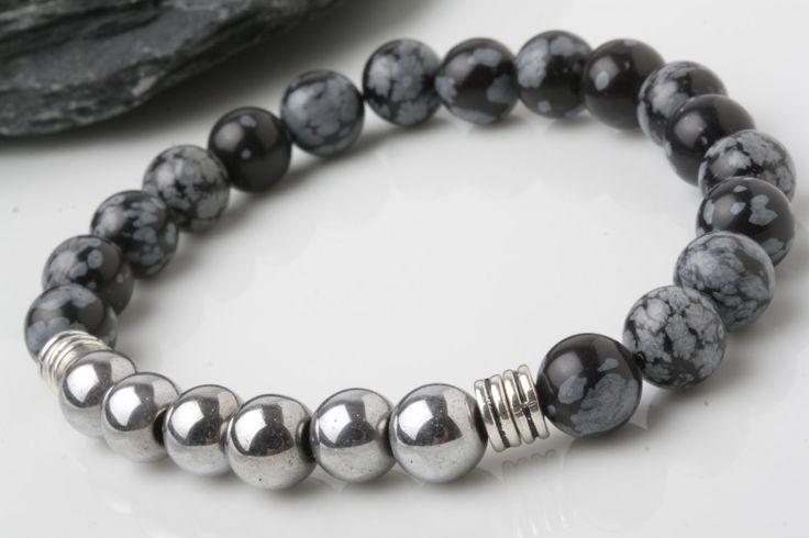 Hematite bracelet, snowflake obsidian bead bracelet,  stone bracelet, yoga…