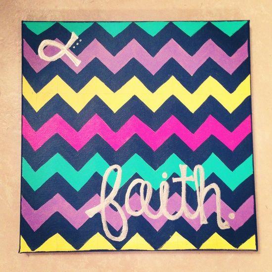 """Chevron """"Faith"""" Canvas Painting"""