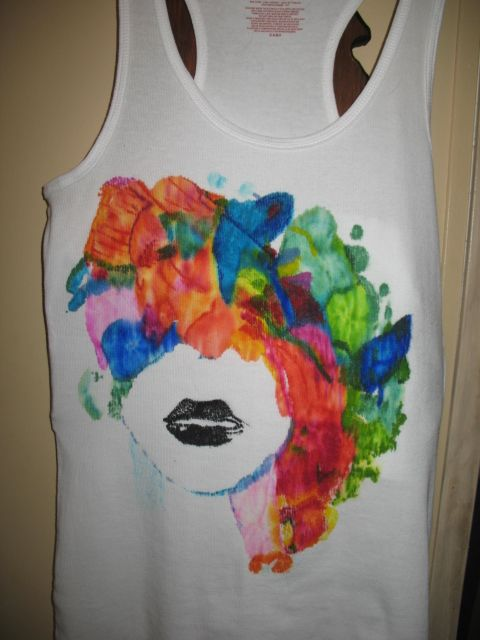 Tank top painted using Sharpie markers, then touched lightly over design using rubbing alcohol