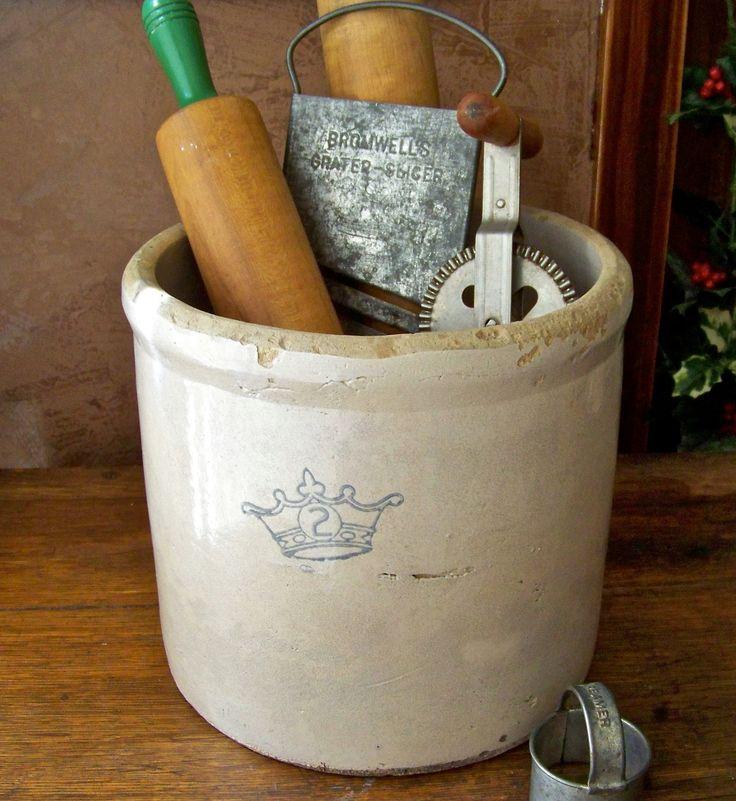 Antique Stoneware Crock for great kitchen storage