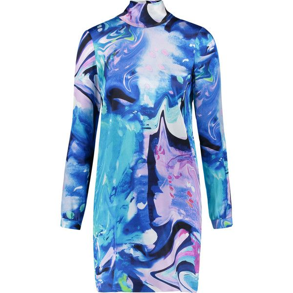 Matthew Williamson - Printed Silk-satin Mini Dress ($278) ❤ liked on Polyvore featuring dresses, multi, short dresses, boho chic dresses, blue mini dress, boho mini dress and short blue dress