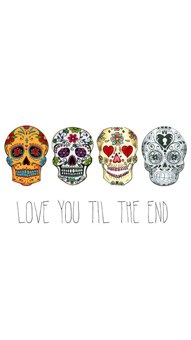 Love You Til The End Cute Skulls Floral iPhone 5 Wallpaper / iPod Wallpaper HD - Free Download