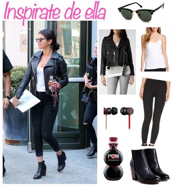 Selena Gomez con chaqueta negra de motociclista