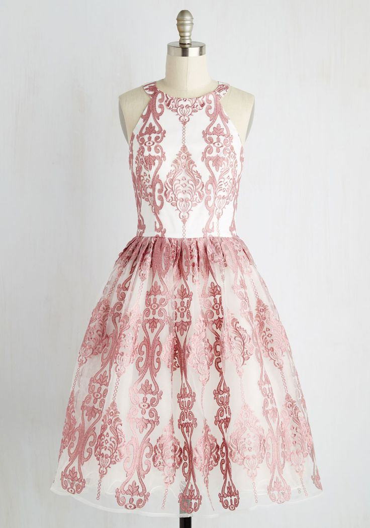 Princess of Posh Dress - White, Pink, Print, Embroidery, Party, Homecoming, Vintage Inspired, 50s, Fit & Flare, Sleeveless, Woven, Better, Long, Prom