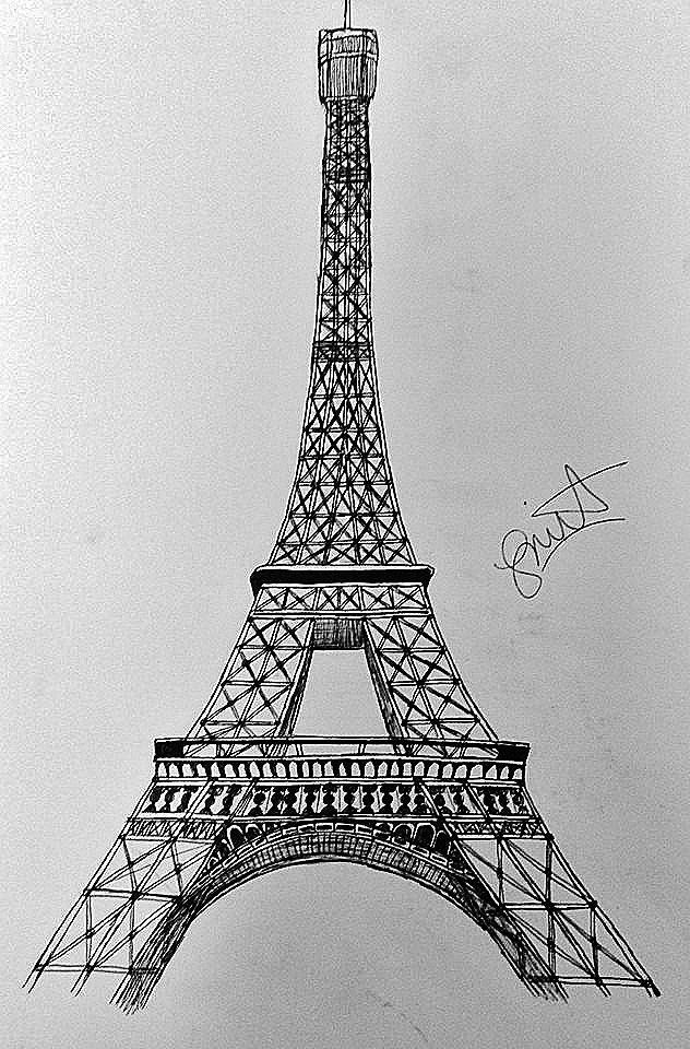 Easy Bedroom Drawings: Eiffel Tower Art Drawing