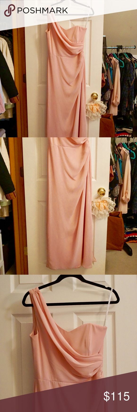 Selling this After Six Blush Pink One Shoulder Gown on Poshmark! My username is: jaymcue. #shopmycloset #poshmark #fashion #shopping #style #forsale #After Six #Dresses & Skirts