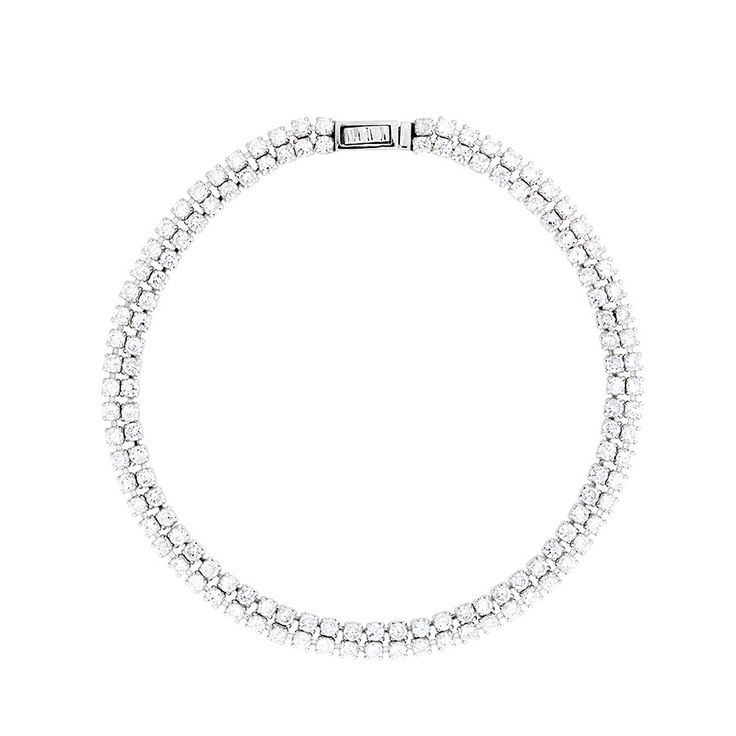 A double strand of individually claw set brilliant cut cubic zirconia stones are linked together to form this classic and timeless tennis bracelet.