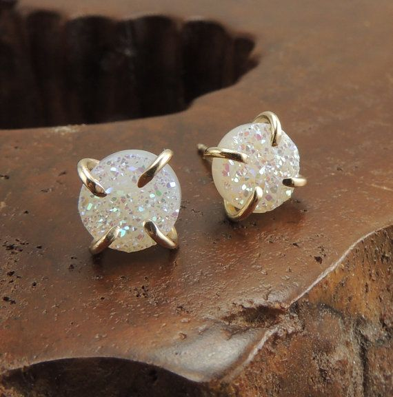 white druzy and gold stud earrings