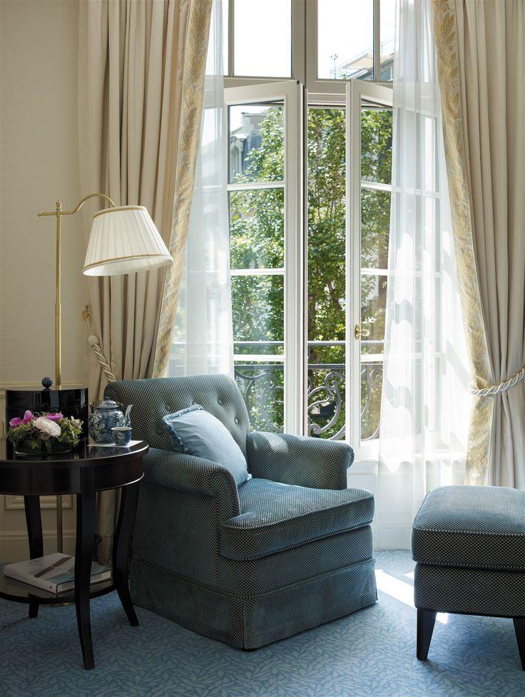 Shangri la Paris, France. #hotel #bed #room #lamp #lighting #design #reading #corner #elegant #style