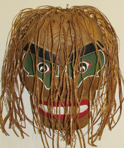 #Bukwas is the wild man of the woods. He is a shy little man that tries to lure unknowing people to eat his ghostly food and become his slaves.  Chris Glendale, the #Northwest #Coast #FirstNations carver, has made and attached a whistle to the inside of the mask so that the dancer can mimic the voice of Bukwas. http://ihosgallery.com/collections/masks-carvings/products/bukwas-mask-whistle