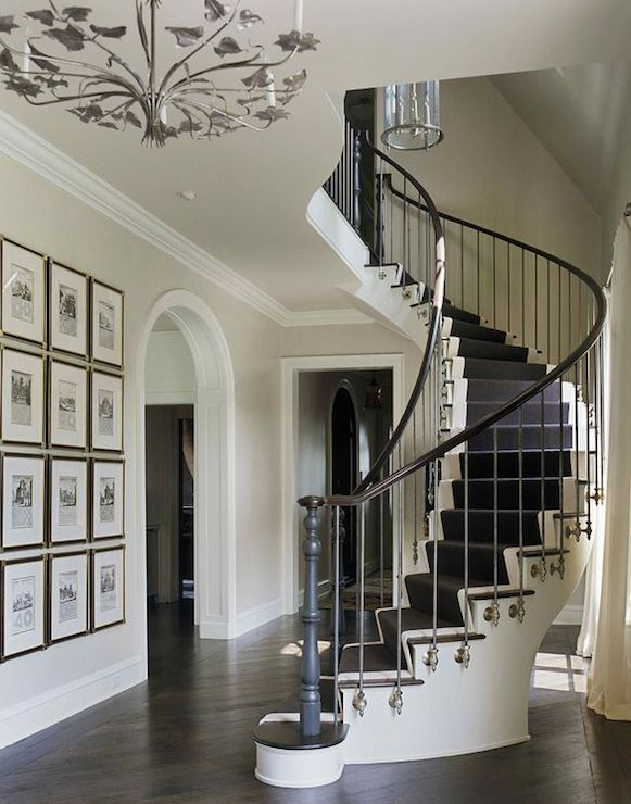 Grand Luxurious Entry Foyer Design With Curved Staircase, White U0026 Black  Stair Runner, Arched