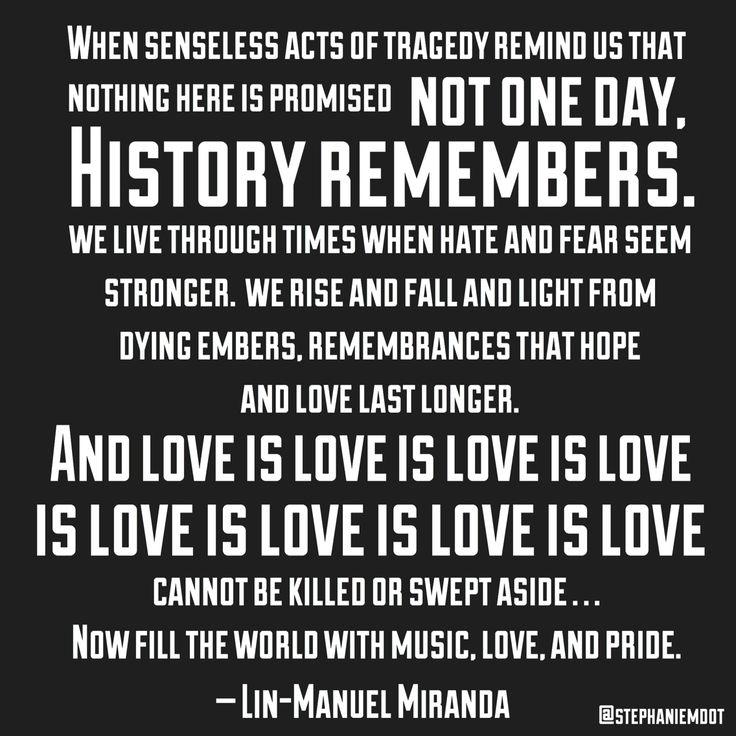 Lin-Manuel Miranda's 2016 Tony Award speech in the wake of the shooting in Orlando, Florida. ❤️