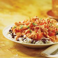 Hearty dinner:  --> H-E-B Slow cooked chicken with black beans and steamed rice recipe