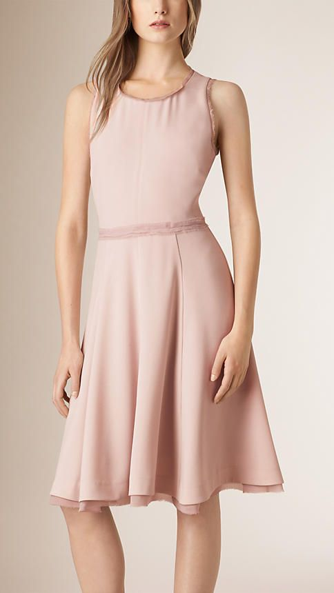 Burberry Pale Orchid Silk Edged Shift Dress - An elegant lightweight shift dress with flared skirt. The sleeveless design is detailed with raw-edge silk and fastens at the back with a concealed zip closure. Discover the women's dress collection at Burberry.com