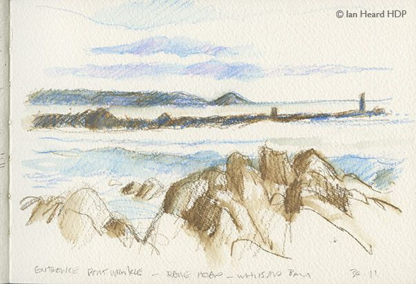 Sketch. Pencil and coloured pencil of the entrance marks to the tiny harbour at Portwrinkle, Cornwall.