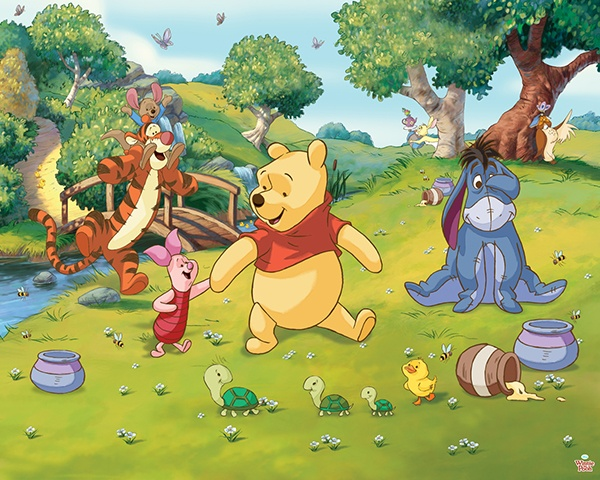 Winnie the Pooh, Iejoor, Knorretje, Teigetje en Roe hebben veel plezier. Doe je mee? www.trendywall.nl