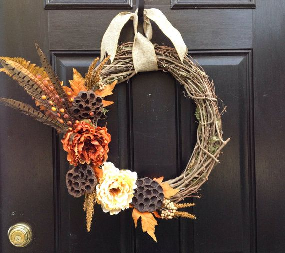 Fall Wreath- Elegant Thanksgiving Wreath-Autumn Decoration on Etsy, $50.00